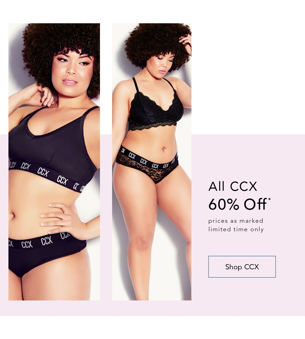 Give your lingerie drawer a streetwear inspired update with new-in CCX styles - ALL CCX 60% OFF* - *Prices as marked, Limited time only - SHOP CCX